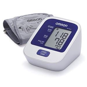 Misuratore di pressione OMRON M2 Basic su sfondo bianco