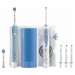 Idropulsore Oral-b e spazzolino elettrico Oral-b Pro 700 bianchi con testine bianche su sfondo bianco