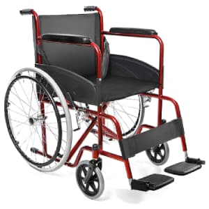Sedia a rotelle AIESI Agila Basic nera e rossa obliqua su sfondo bianco