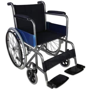 Sedia a rotelle nera e blu Mobiclinic Alcázar messa in obliquo su sfondo bianco
